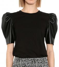 Michael Kors Black Puff-Sleeve Top