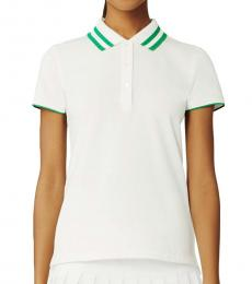 Tory Burch White Performance Pique Pleated-Collar Polo Tee