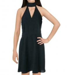 Betsey Johnson Navy Tie Neck Fit & Flare Dress