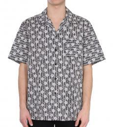 Grey Geometric Short Sleeve Bowling Shirt