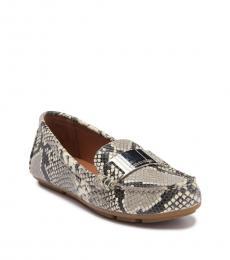 Beige Lisette Snake Print Loafers