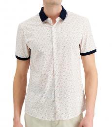 Michael Kors White Slim-Fit Dot Print Shirt