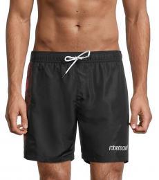 Roberto Cavalli Black Logo Drawstring Swim Shorts