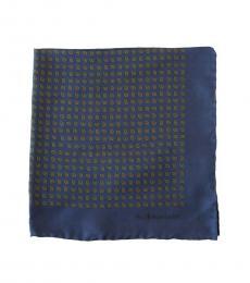 Ralph Lauren Navy Leave Pattern Pocket Square