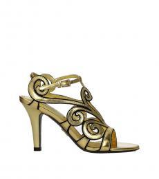 Prada Gold Ankle Strap Leather Heels