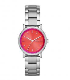 DKNY Silver Red Dial Logo Watch