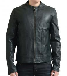 Green Leather Full Zip Jacket