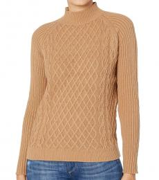 Beige Mock Neck Pullover Sweater