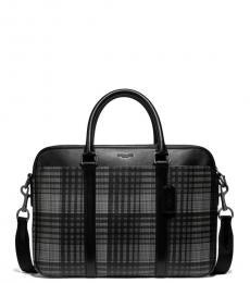 Coach Grey Plaid Perry Slim Large Briefcase Bag