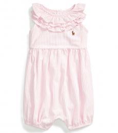 Ralph Lauren Baby Girls Carmel Pink Striped Bubble Shortall