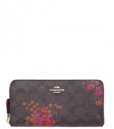 Coach Brown Accordion Zip Floral Bundle Wallet