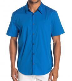 Island Blue Stretch Short Sleeve Sport Shirt
