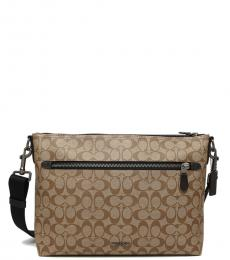 Coach Tan Signature Graham Large Messenger Bag