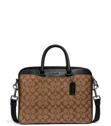 Coach Tan/Black Beckett Compact Large Briefcase Bag