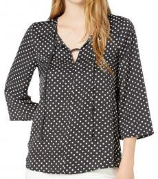 Black Off White A-Line Woven Top