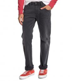 Black Denim Larkee Distressed Straight Leg Jeans