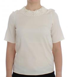 Dolce & Gabbana White Lace Silk Top