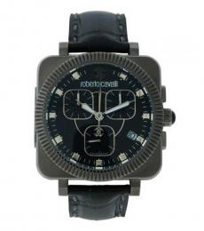 Black Chronograph Alligator Watch