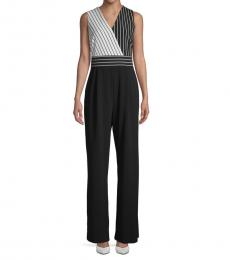 Calvin Klein Black Cream Striped Sleeveless Jumpsuit