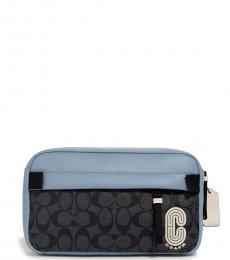 Coach Pebble Blue Charcoal Edge Belt Bag