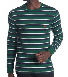 Ralph Lauren Green Waffle Knit Thin Stripe Sweater
