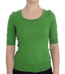 Green Solid Crewneck Sweater