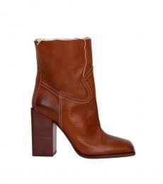 Saint Laurent Brown Square Toe Ankle Boots