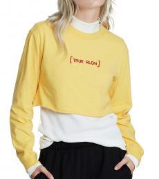 Yellow Logo Slogan Crop Tee