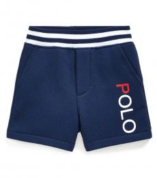 Ralph Lauren Baby Boys Newport Navy Cotton-Blend-Fleece Shorts