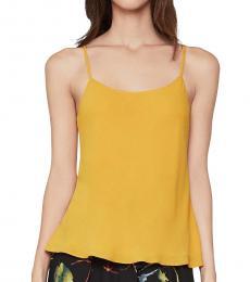 BCBGMaxazria Golden Glow Chiffon Drapey Camisole Top