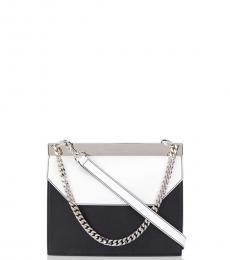 Alexander McQueen Black & White Bar Medium Shoulder Bag