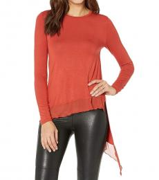 BCBGMaxazria Rust Long Sleeve Knit Top
