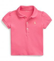 Ralph Lauren Baby Girls Lauren Pink Puff-Sleeve Interlock Polo