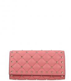 Valentino Garavani Carnation Studded Flap Wallet