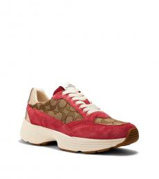 Coach Khaki Dark Pink Runner Sneakers