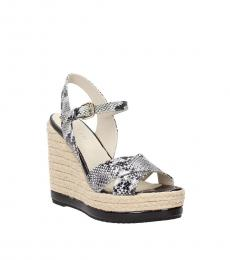 Snake Print Leather Wedges
