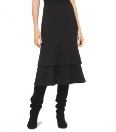 Black Georgette Tiered Skirt