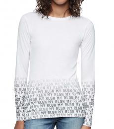 True Religion White Long Sleeve Logo Tee