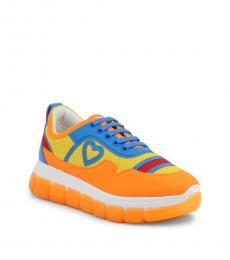 Love Moschino Orange Multi Classic Sneakers