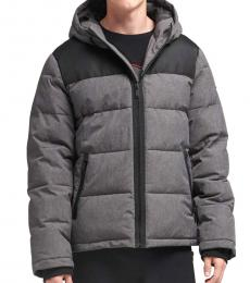 DKNY Heather Charcoal Contrast Puffer Coat