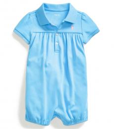 Ralph Lauren Baby Girls Chatham Blue Interlock Bubble Shortall