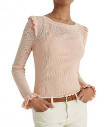 Ralph Lauren Pink Hydrangea Ruffled Cotton-Blend Sweater