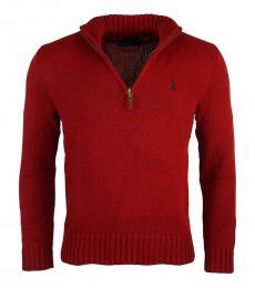 Ralph Lauren Red Half Zip Sweater