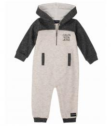 Calvin Klein Baby Boys Grey Marled Hooded Coverall
