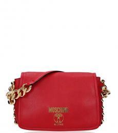Moschino Red Logo Medium Shoulder Bag