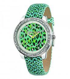 Aqua Leopard Print Watch