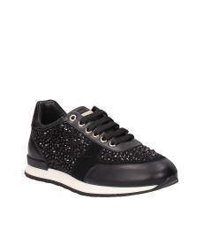 Philipp Plein Black Rhinestone Embellished Sneakers