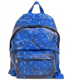 Blue Quilted Large Backpack