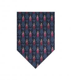 Blue Neat Bug Pattern Tie