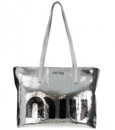 Miu Miu Silver Sequins Logo Large Tote